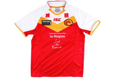 52ef10ef4 Catalans Dragons 2014 Home Super League S S Shirt Red Gold White - size M   Amazon.co.uk  Clothing