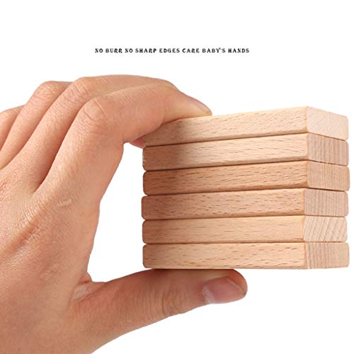 ZYN Children's Building Blocks Dominoes Creative Educational Toys Kindergarten Teaching Aids Beech Safe and Unpainted (Color : Wood Color (300 Pieces)) by ZYN (Image #2)