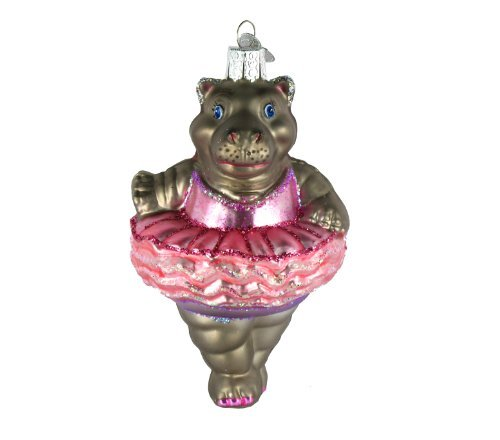 Old World Christmas Ornaments: Twinkle Toes Glass Blown Ornaments for Christmas Tree (Hippo Ornament)