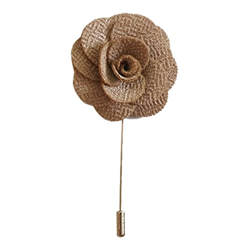 (Sunny Home Men's Lapel Flower Stick Brooch Pin Boutonniere Pin for Suit Tuxedo Corsage (3.74in, Khaki))