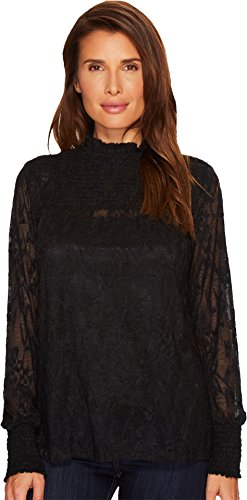 (Dylan by True Grit Women's Floral Crochet Lace Smock Turtleneck Vintage Black X-Small)