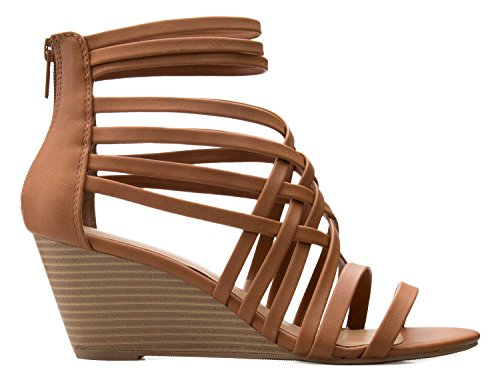 4e06cde61 OLIVIA K Women s Strappy Woven Wedge Sandals - Sexy Open Toe Heel ...