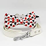 Dog Bow Tie collar Leash, Dog collar leash, White Leash, Handmade, Hearts Diamonds, Black Red, Poker, Alice In Wonderland, Playing card