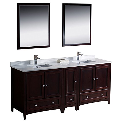 "Fresca Bath FVN20-301230MH Oxford 72"" Double Sink Vanity with Side Cabinet, Mahogany"