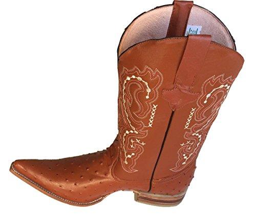 Botas Vaqueras De Cuero Genuino Avestruz En Relieve Cowboy Botas De Lujo Hechas A Mano De Coñac