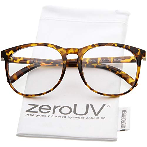 zeroUV - Classic Horn Rimmed Square Eyeglasses For Men Women Clear Lens 54mm (Tortoise/Clear)