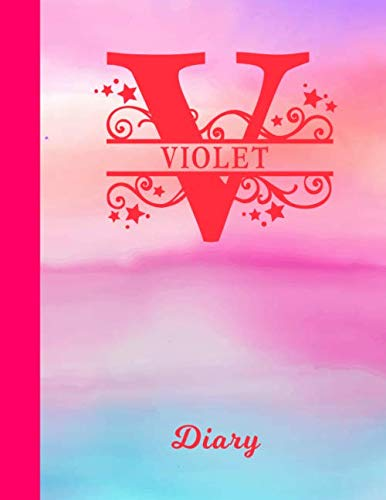 Violet Diary: Personalized First Name & Letter Initial Personal Writing Journal | Glossy Pink & Blue Watercolor Effect Cover | Daily Diaries for ... | Write about your Life, Goals ()