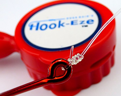 Hook-Eze NEW Larger Model Reef & Blue Water - Safe Fishing Hook Cover Knot Tying Tool - Cover 2 Poles + Line Cutter (Red) (Fish Hook Knots)
