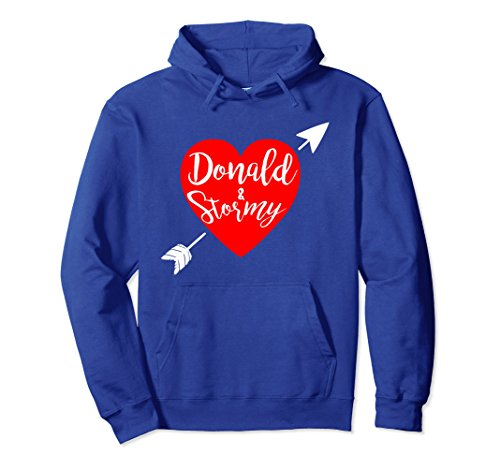 Unisex Donald and Stormy, funny Trump Hoodie Medium Royal Blue