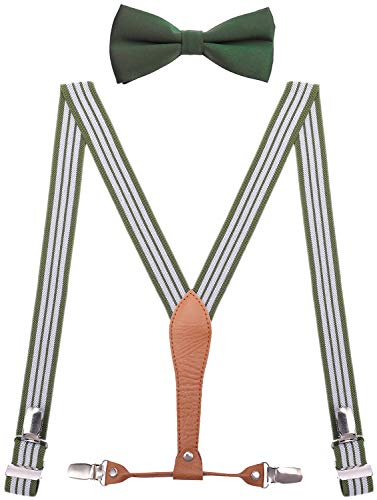 - WDSKY Baby Suspenders and Bow Tie Set 4 Clips Elastic 24 Inches Green White Stripe