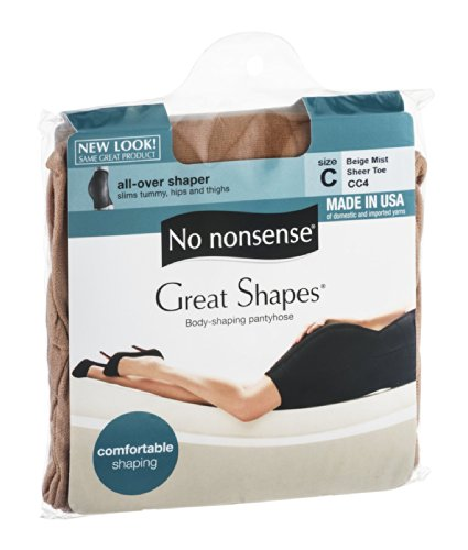 No Nonsense JQ4/CC4 Size C Beige Mist Great Shapes Nylons - Pack of 3