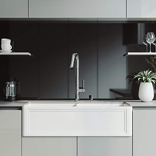 VIGO 36-Inch Double Bowl Rectangular White Matte Stone Crown Apron Front Reversible Farmhouse Kitchen Sink and Oakhurst LED 1-hole, Single Lever Pull-Down Kitchen Faucet and Soap Dispenser Set Chrome