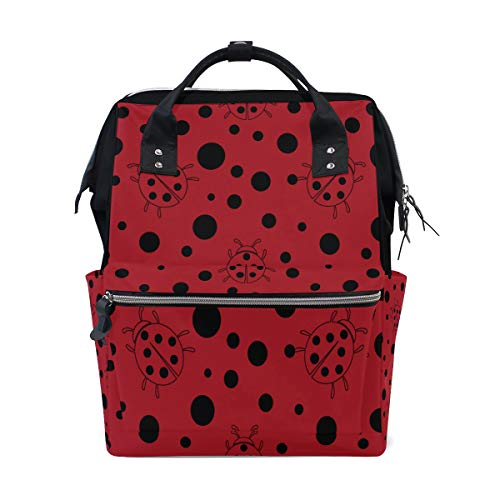 - Black Red Dot Ladybug Large Capacity Diaper Bags Mummy Backpack Multi Functions Nappy Nursing Bag Tote Handbag for Children Baby Care Travel Daily Women