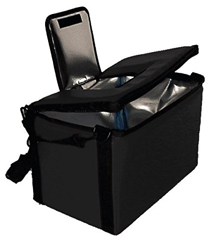 TCB Insulated Bags HWK-1D-Black Food and Beverage Carriers: Hawking Vending Bag with Dispensing Lid, 12'' x 18'' x 12'', Black by TCB Insulated Bags