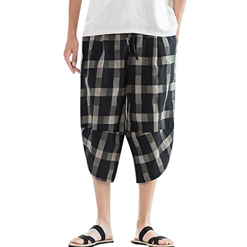 YAYUMI Men's Swim Trunks Loose Casual Plaid Cotton Linen Pants Trousers Black Cotton 48' Waffle Robe
