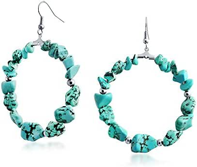 Bling Jewelry Synthetic Turquoise Beads Large Hoop Earrings Rhodium Plated