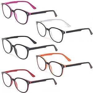 Kerecsen 5 Pairs Retro Round Frame Reading Glasses Spring Hinge Large Readers (5 Pack Mix Color, 0.50)