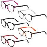 Kerecsen 5 Pairs Retro Round Frame Reading Glasses Spring Hinge Large Readers (5 Pack Mix Color, 1.25)