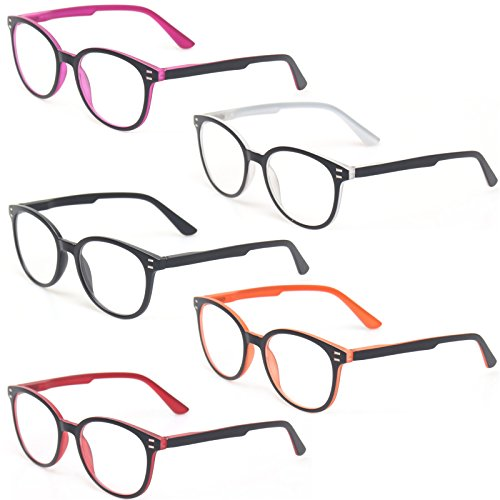 Kerecsen 5 Pairs Retro Round Frame Reading Glasses Spring Hinge Large Readers (5 Pack Mix Color, 2.25)