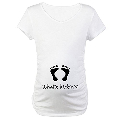 CafePress What's Kickin'? Cotton Maternity T-Shirt, Cute & Funny Pregnancy Tee White