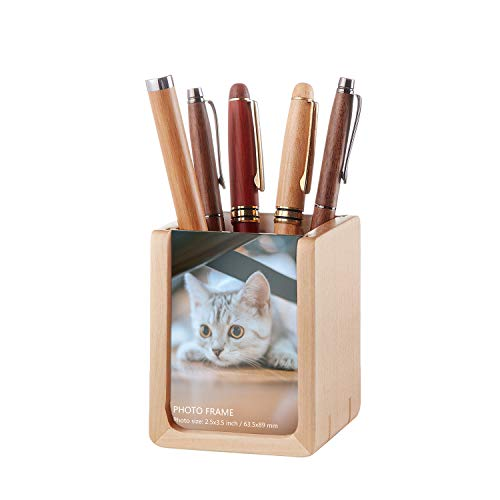 Artinova Wooden Pen Holder with Photo,Square Pencil Holder,U-Shape Pen Cup with 2 Picture Frames ARTA-1053
