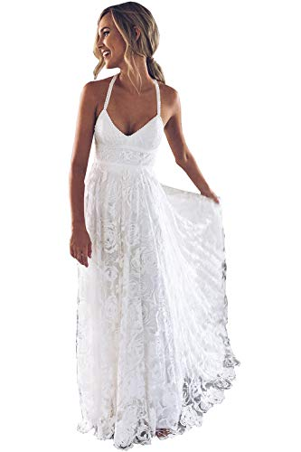 Women's Full Lace A Line Boho Wedding Dresses Criss-Cross Backless Side Slit Spaghetti Bridal Gowns Ivory 14