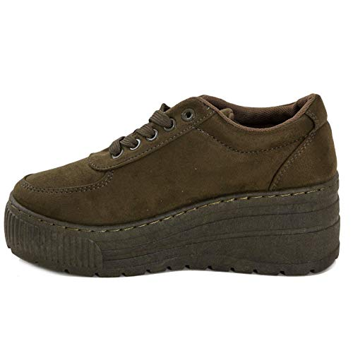 975 Ad Ginnastica Verde Sneakers Zeppa Scarpe Scamosciate Toocool Platform Donna Stringate xa11z