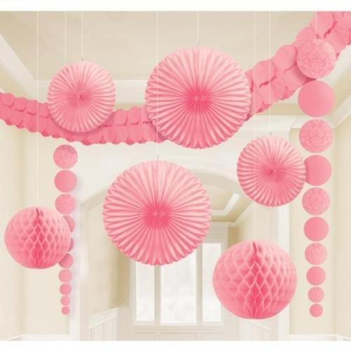 Amscan International Paper Hanging Room Decorating Kit (Light Pink) (Pink Decorating Kit)