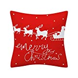 Dermanony Christmas Pillow Covers Cotton Glitter Polyester Square Sofa Cushion Throw Pillow Cover Home Decor 18 inches