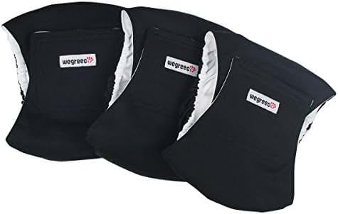 wegreeco Washable Male Dog Belly Wrap - Pack of 3 - (Black,X-Large)