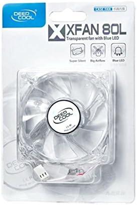 Boitier PC, Ventilateur, 8 cm, 20 DB, Bleu, Transparent, 2,04 W refoidisseurs et radiateurs DeepCool XFan 80L Boitier PC Ventilateur Ventilateurs