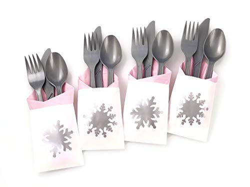 Pink Snowflake Party Cutlery - 24 Set Baby Shower or Winter Wonderland Birthday -