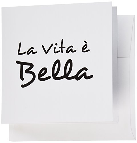 3dRose La Vita E Bella - Life is Beautiful in Italian - Black and White Text, Greeting Cards, Set of 6 (gc_185025_1)