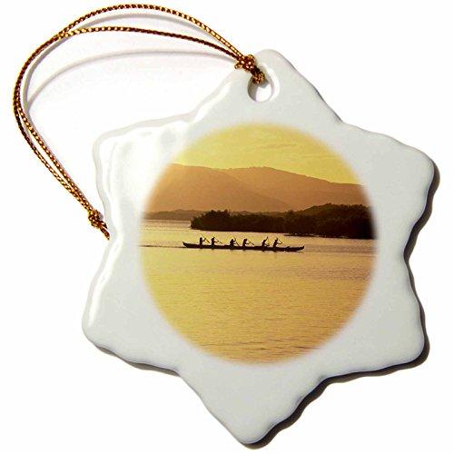 3dRose orn_89524_1 Outrigger Canoe Sunset Molokai Hawaii US12 DPB0074 Douglas Peebles Snowflake Porcelain Ornament, 3-Inch by 3dRose