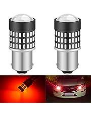 KATUR 1156 BA15S 7506 1073 1095 1141 LED-glödlampa 900 lumen 3014 78SMD lins LED-lampor för broms blinkers svans backup omvänd bromslampa, lysande röd (förpackning med 2)