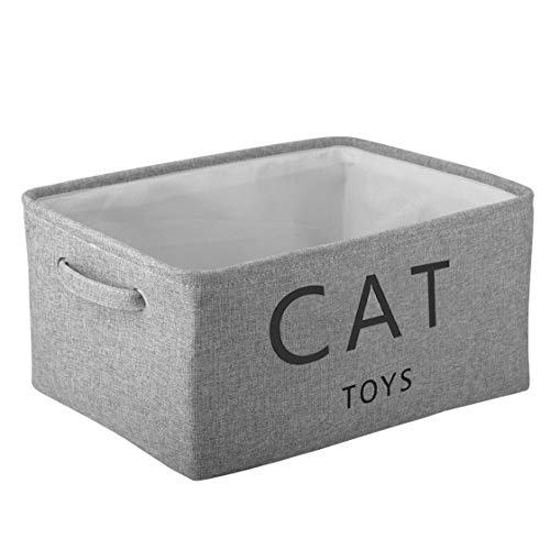 Pethiy Canvas cat Toy Basket Basket with Handles for Clothes Storage for cat/Dogs Toy Storage,pet bin,cat Toy bin,Pet…
