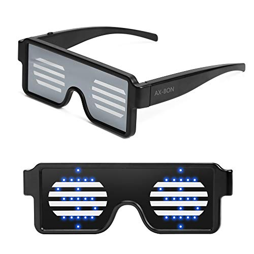 AX-BON LED Glasses,Rechargeable Toy Sunglasses can Work 8 Hours with 8 Animation Modes for Halloween Christmas and Various Parties(Bule)