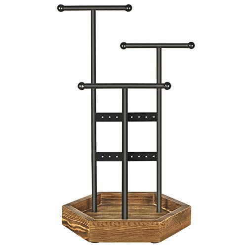 SONGMICS Jewelry Display Stand Holder, Metal and Wood Jewelry Tree, for Necklaces, Bracelets, Earrings, Studs, Rings, Gift Idea, Black UJJS03CB (Metal Jewelry Stand Tree)