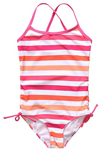 [Alove Big Girl's Stripes One Piece Swimsuit Swimwear Red White 10-12] (Swimming Costume For Womens Online)