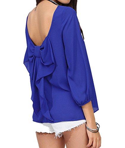 Style Stretch Longues en Chemisier Tops Dcontracte lgante Cou blue Femme Col Chemise Soie Vintage Scothen Chemise Manches Lache Tunique Longues V Boyfriend Manches T Mousseline de V Shirt gwTqdcOxz