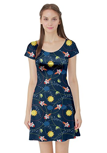 CowCow Womens Navy Space Short Sleeve Dress, Navy - XL]()