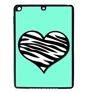 iPad Air Rubber Silicone Case - Tiffany Blue with a Zebra Pattern Heart