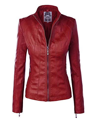 Lock and Love LL WJC877 Womens Panelled Faux Leather Moto Jacket S Wine