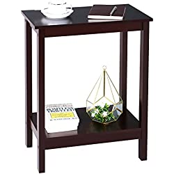 SONGMICS Narrow Side Table end Table nightstand Simplistic Narrow Bedside Corner Table Open Shelf for Storage Living Room Mahogany Color ULET04BR