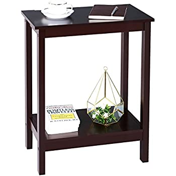 SONGMICS Narrow Side Table End Table Nightstand Simplistic Narrow Bedside  Corner Table Sofa Table Open Shelf For Storage Living Room Mahogany Color  ULET04BR