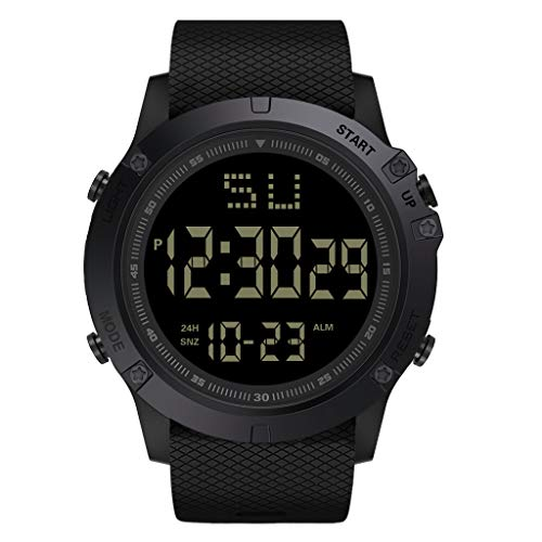 YEZIJIN Fashion Men LED Digital Date Military Sport Rubber Quartz Watch Alarm Waterproof Under 10
