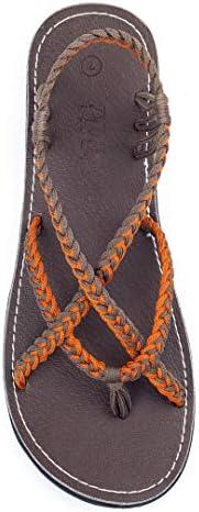 Plaka Flat Sandals for Women Lagoon Size: 5 US Orange Gray