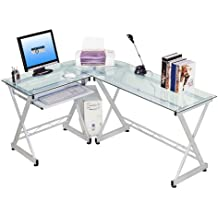 Techni Mobili Tempered Glass L Shape Corner Desk Pull Out Keybaord Panel. Color: Clear