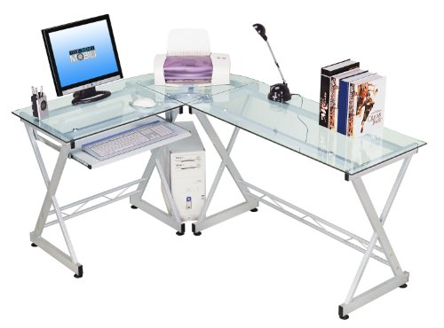 Tempered Glass L Shape Corner Desk With Pull Out Keybaord Panel. Color: Clear