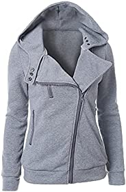Lucktop Long Sleeve Casual Coat for Women Fall Zip Up Hoodies Solid Loose Sweatshirts V Neck Jacket with Pocke